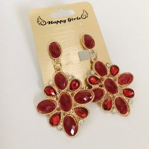 Statement piece red earrings